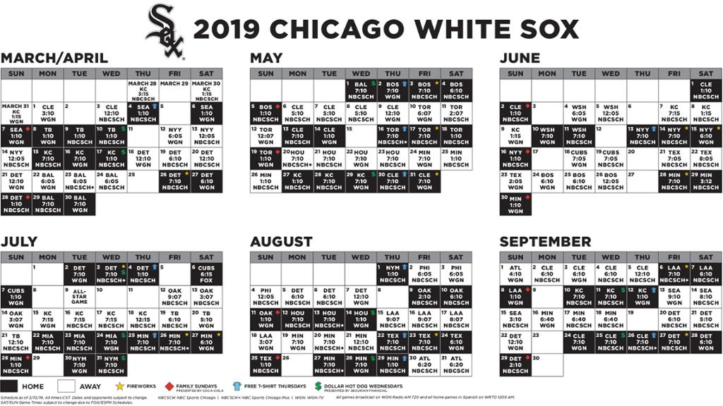 2019 White Sox Schedule